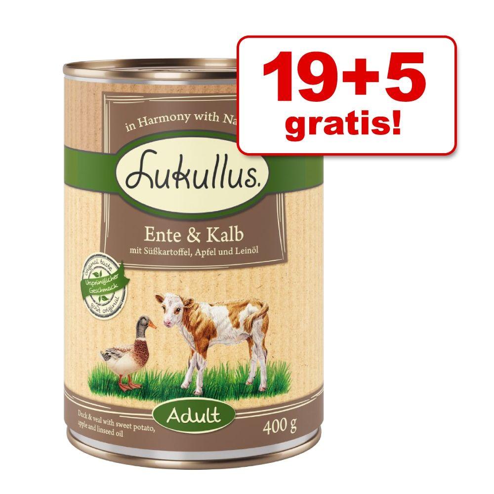 19 + 5 gratis! Lukullus Naturkost 24 x 400 g - Ente & Kalb (getreidefrei)