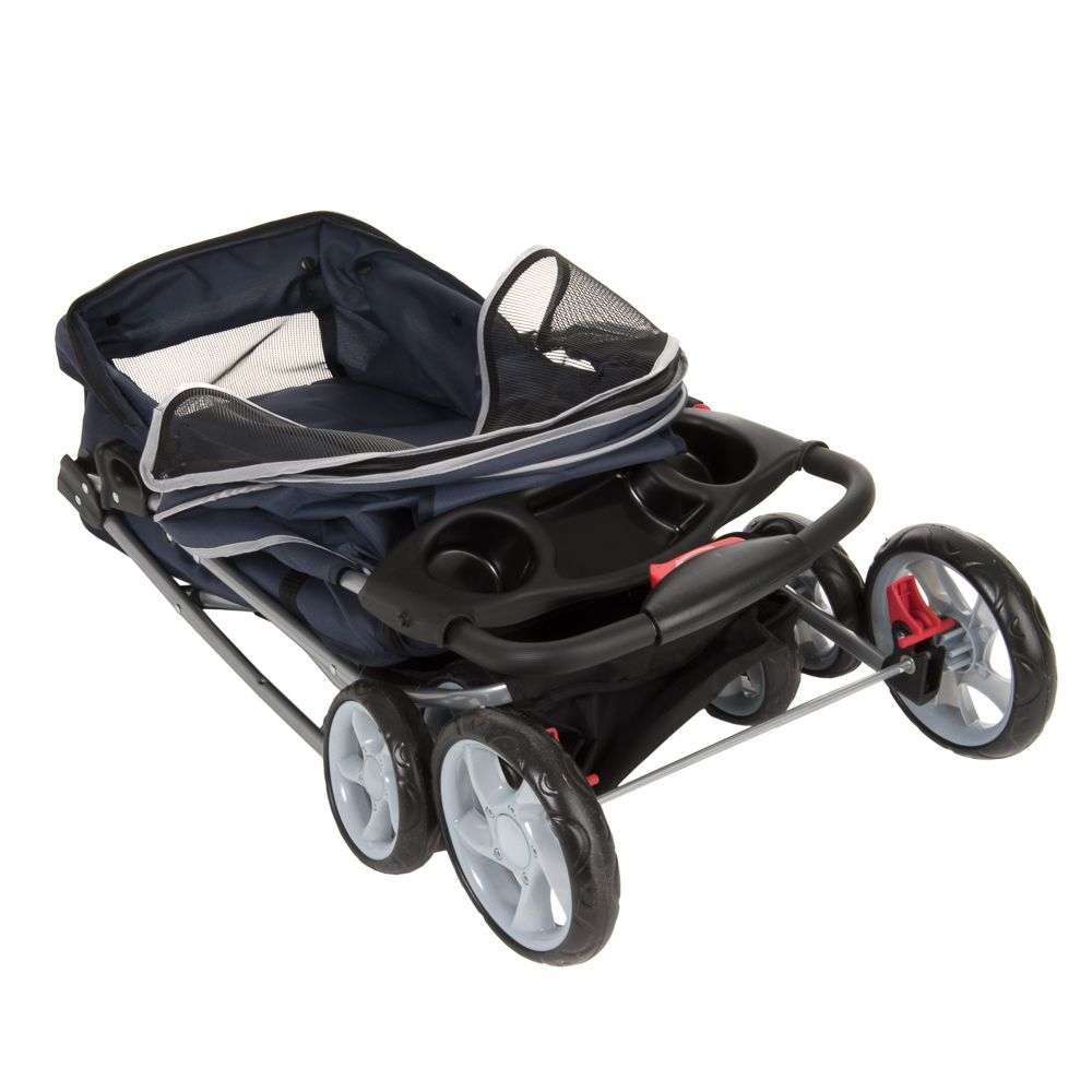 Sporty Pet Stroller for Small Dogs Navy Blue & Grey