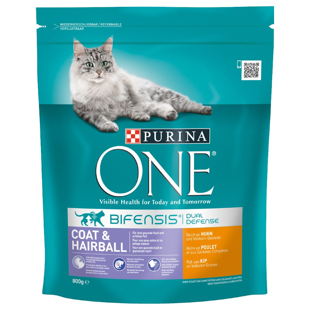 Purina ONE Coat & Hairball Chicken & Whole Grains Dry Cat Food - 1.5kg