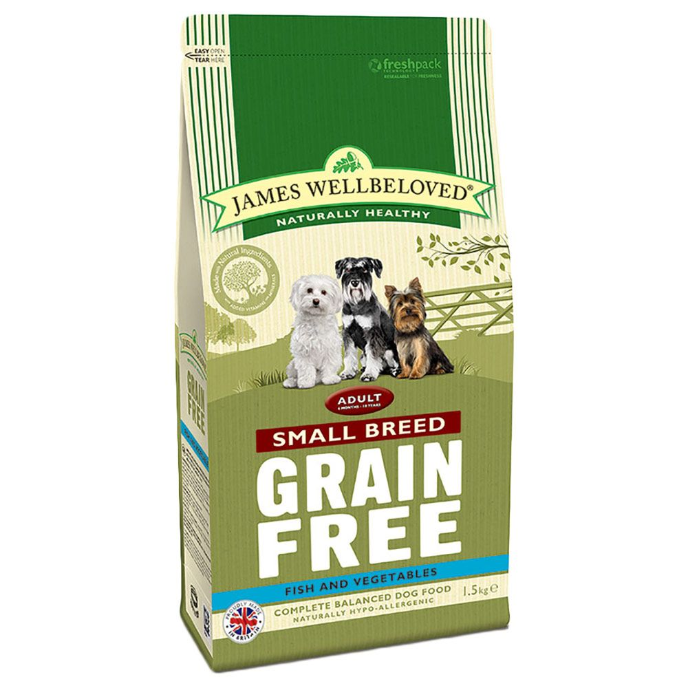 James Wellbeloved Adult Small Breed Grain Free - Fish & Veg - Economy Pack: 3 x 1.5kg