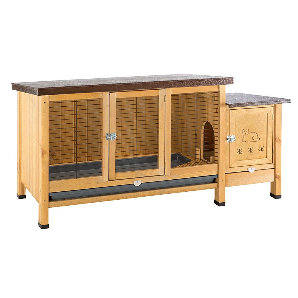 Your rabbit, guinea pig or other small pet will feel right at home in this Ranch Rabbit Hutch. The large floor area acts as your pet's main area, with a seperate s...