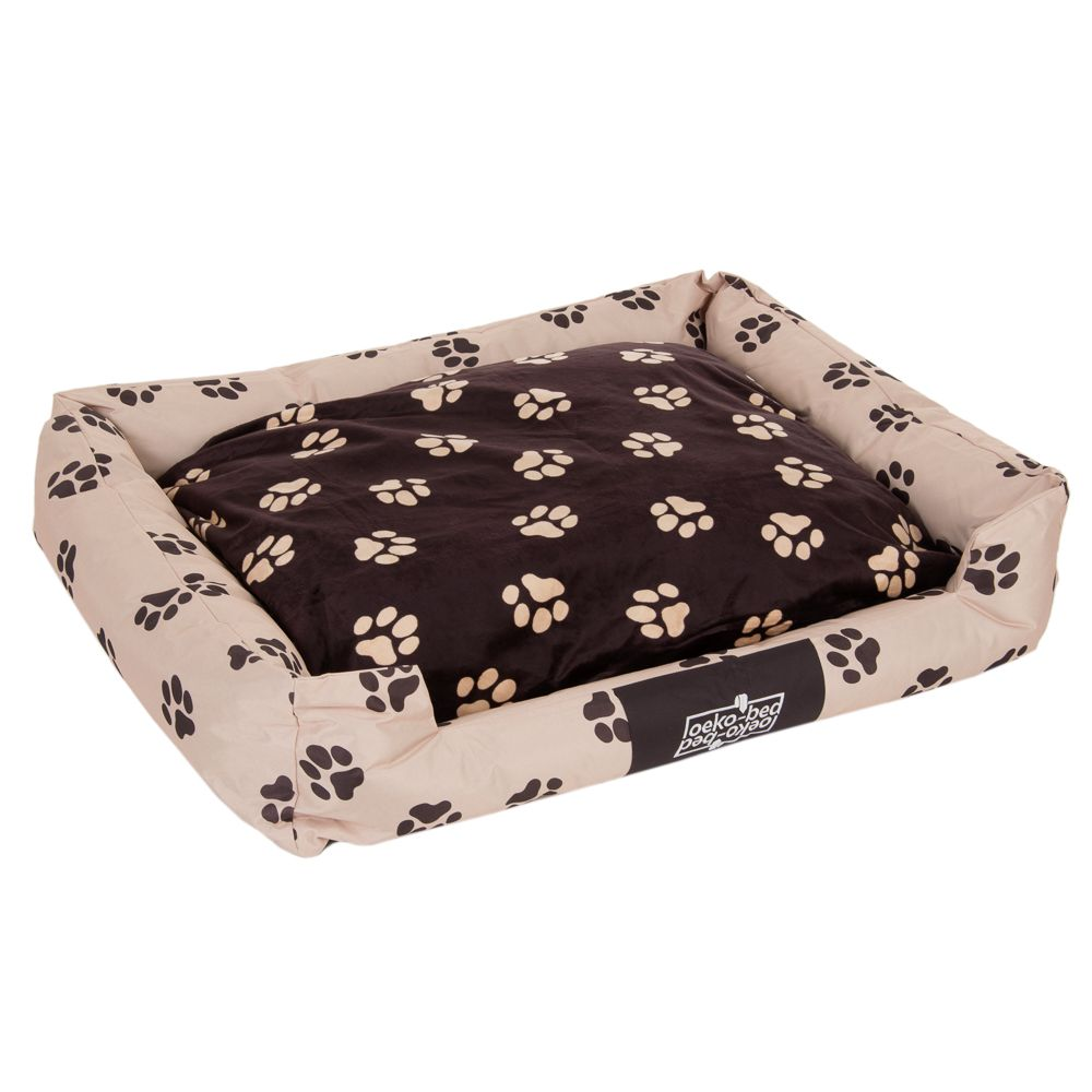 Oekobed Plush Dog Bed Paw Print