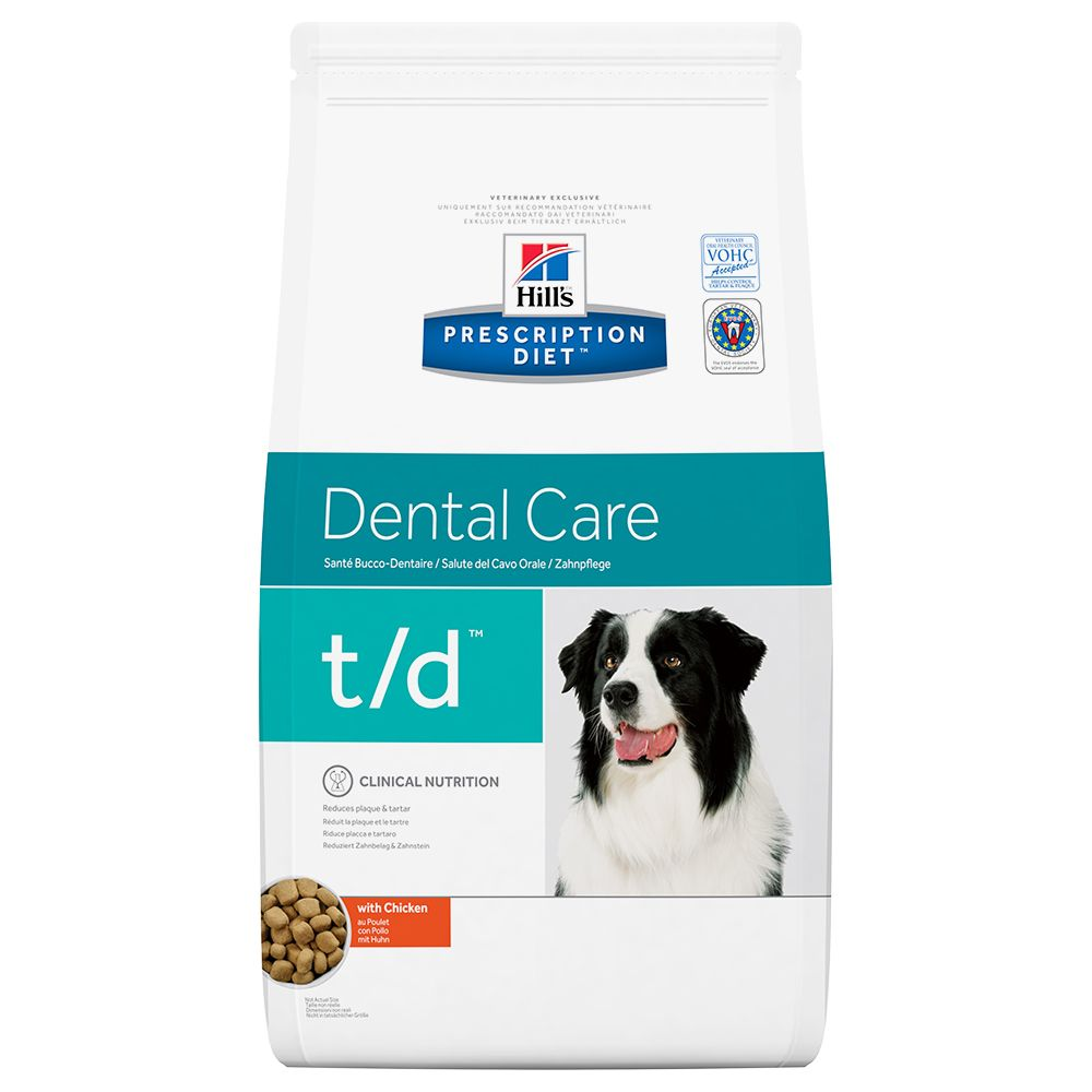 Hill's Prescription Diet Canine t/d Dental Care with Chicken is a therapeutic dry food which promotes healthy gums and teeth while helping to reduce the build-up o...