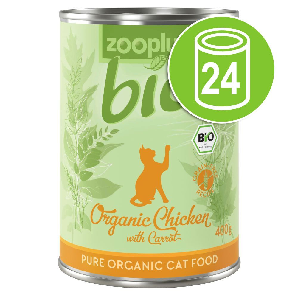 24x400g zooplus Bio poulet, carotte - Pâtée pour chat