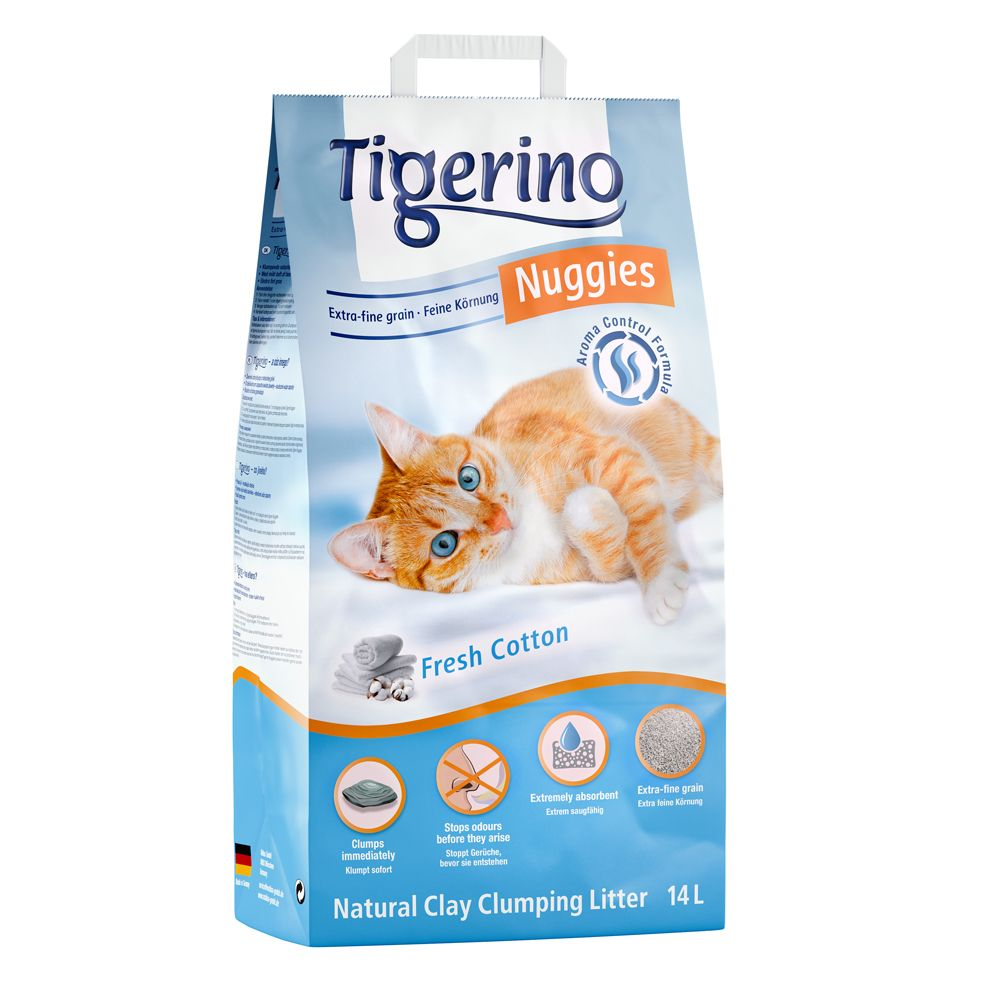 Tigerino Nuggies Ultra kattströ - Fresh Cotton - 14 l