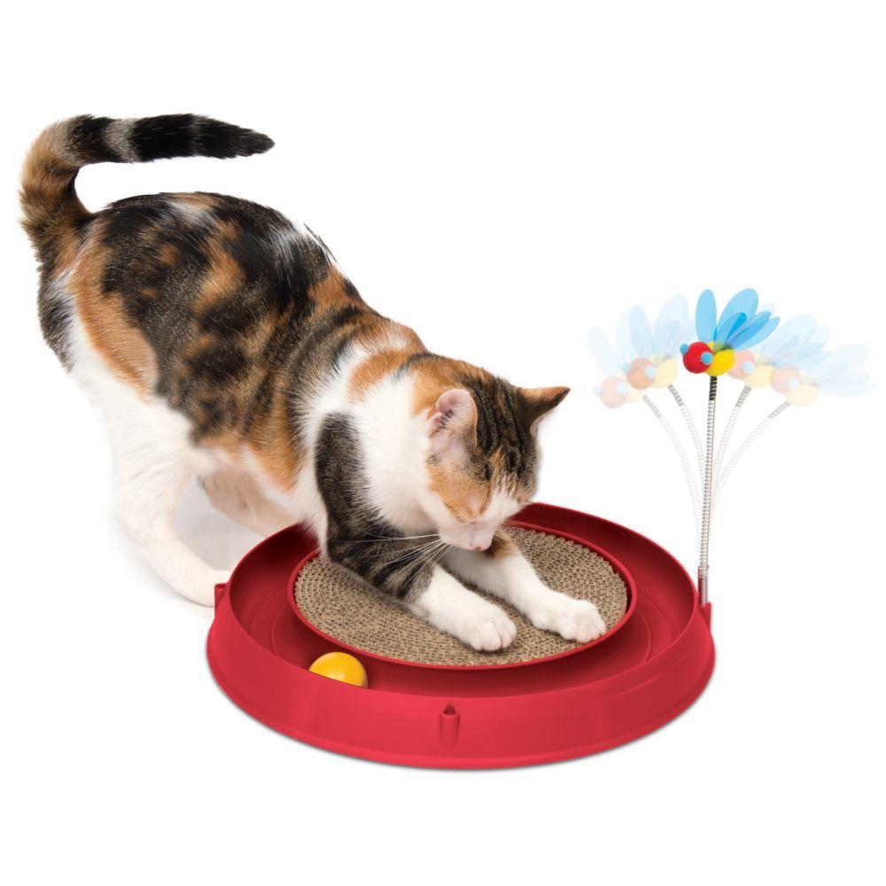 Image of Gioco per gatti Catit Play-N-Scratch - 3 in1  - ca. Ø 36 x H 25 cm (rosso)