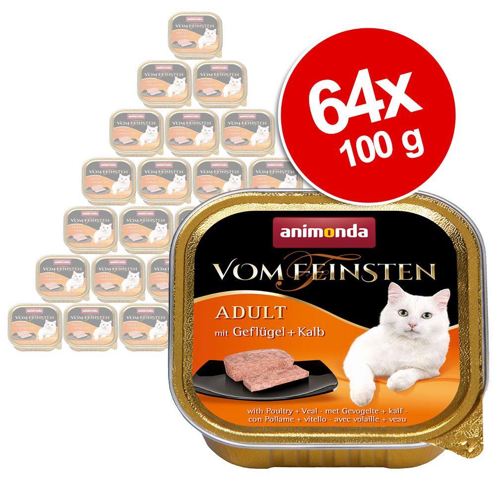 Ekonomipack: Animonda vom Feinsten Adult 64 x 100 g - Blandpack Fisk + Kött (4 sorter)