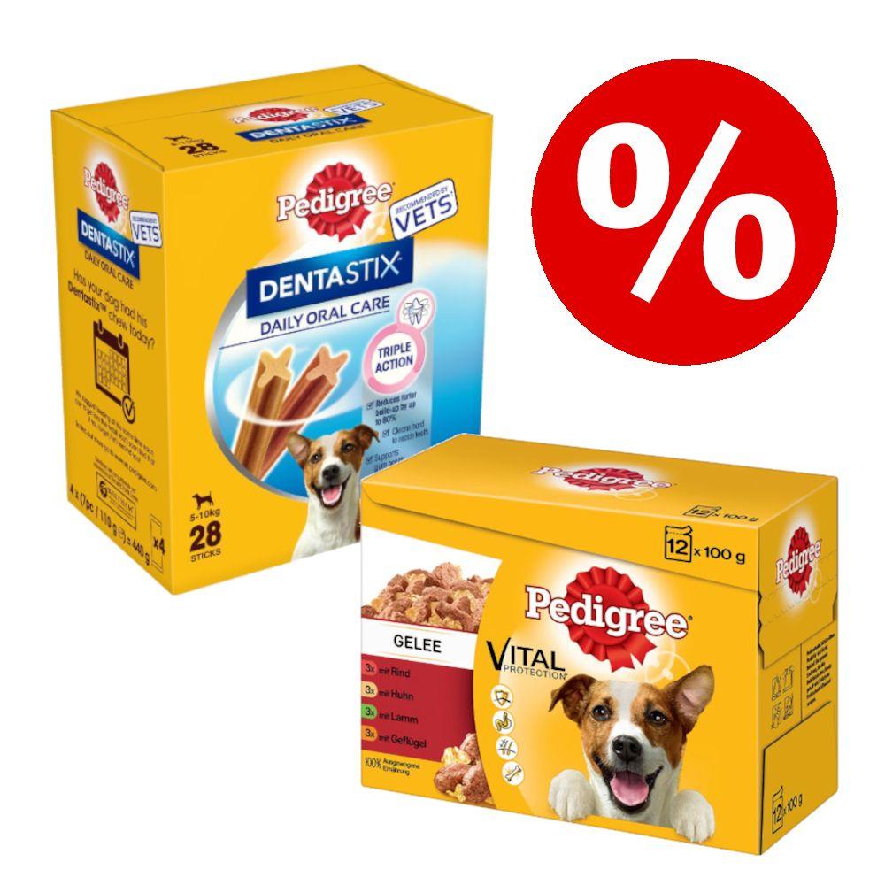 96 x 100 g Pedigree Pouch Mix + Dentastix Snacks zum Sonderpreis! - Junior in Gelee + Dentastix Large Snacks
