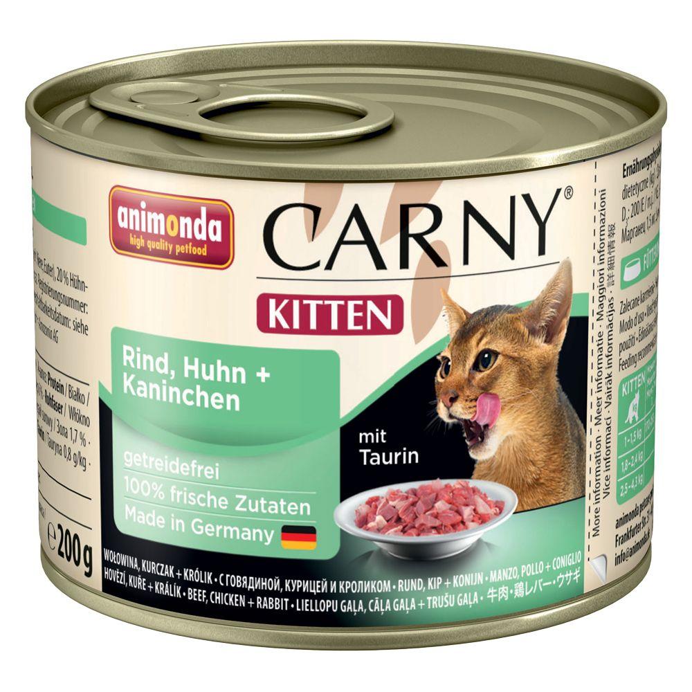 Animonda Carny Kitten 6 / 12 x 200 g - 12 x 200 g Blandpack: Nötkött & kalkonhjärta + Nötkött, kyckling & kanin