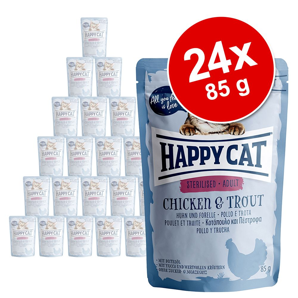 Ekonomipack: Happy Cat Pouch All Meat 24 x 85 g - Kalkon & sej