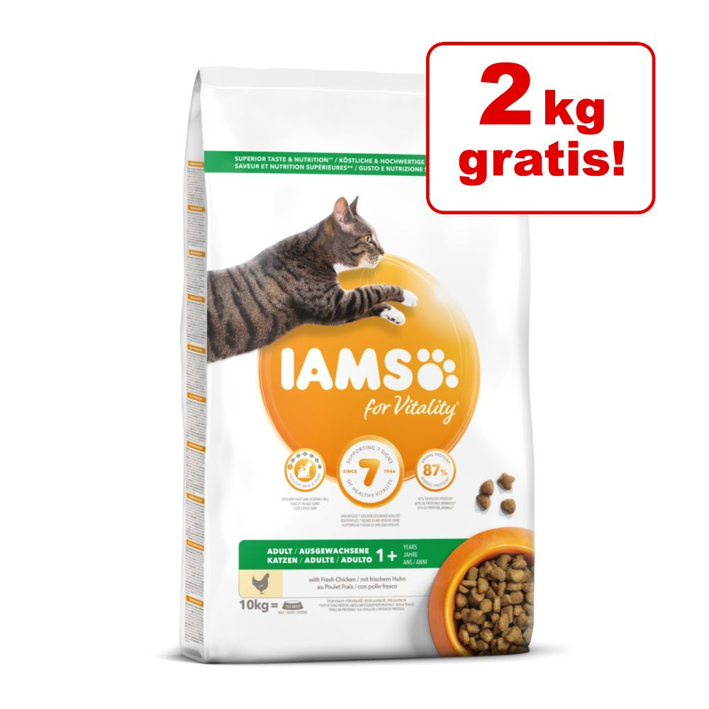 2 kg på köpet! 8 + 2 kg IAMS for Vitality kattfoder - Low Fat / Sterilised