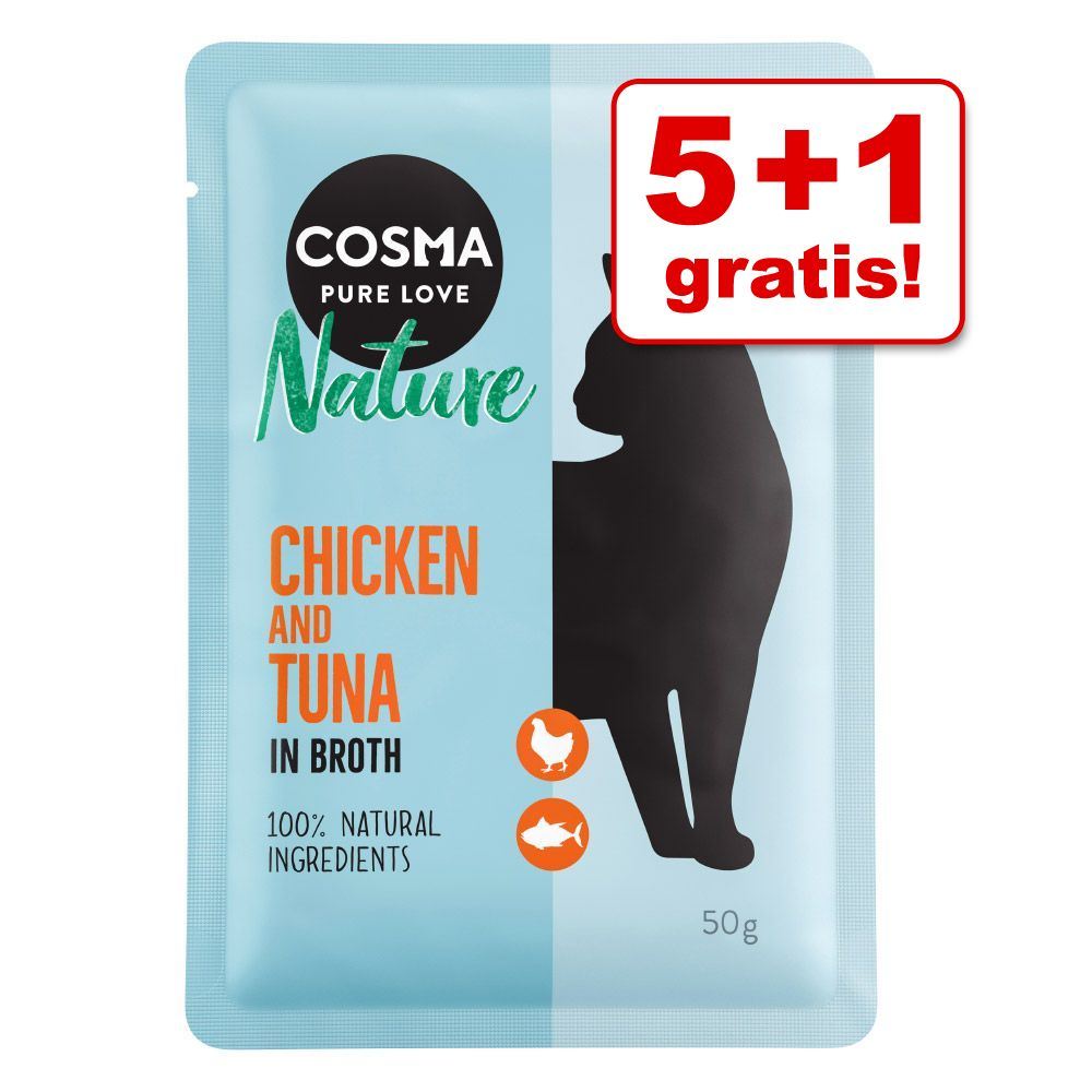 5 + 1 på köpet! 6 x 50 g Cosma Nature i portionspåse Skipjack tonfisk