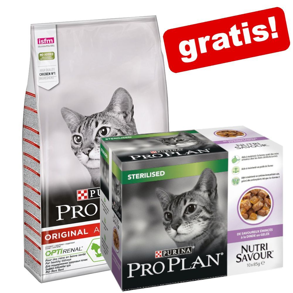 10 kg PRO PLAN kattfoder + 10 x 85 g Nutrisavour Sterilised på köpet! - Sterilised Adult Rich in Turkey