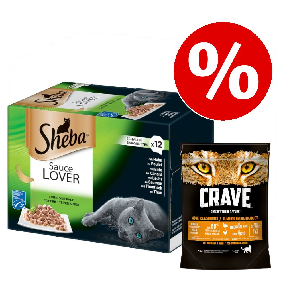 48 x 85 g Sheba + 750 g Crave Turkey & Chicken torrfoder till kanonpris! - Sauce Lover + Adult Turkey & Chicken