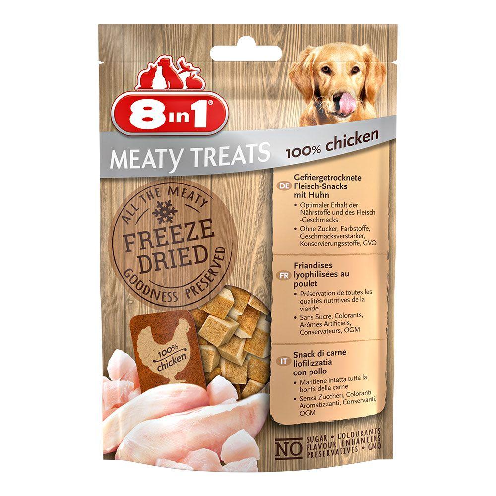 2x50g Chicken & Carrot Freeze Dried Meaty Treats 8in1 Dog Treats