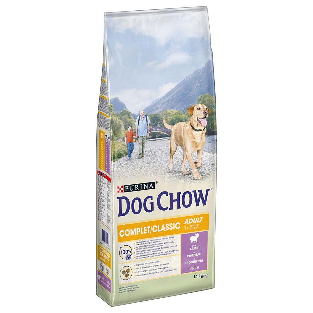 14kg PURINA Dog Chow Complet/Classic, agneau - Croquettes pour chien