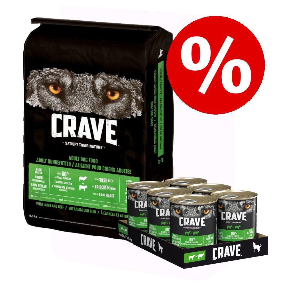 11,5 kg Crave Adult Trockenfutter + 6 x 400 g Adult Nassfutter zum Sonderpreis! - 11,5 kg Lamm & Rind + 6 x 400 g Lamm und Rind