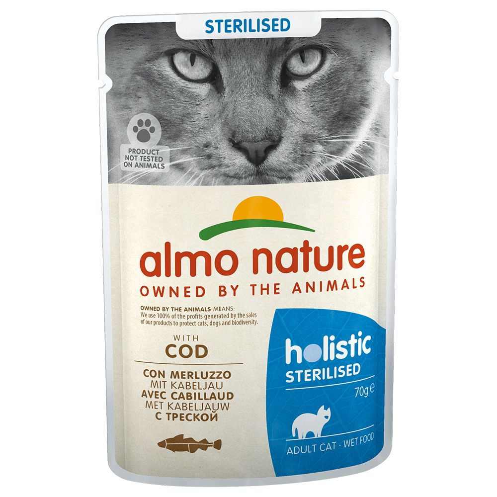 Almo Nature Holistic Sterilised portionspåse - 6 x 70 g med torsk
