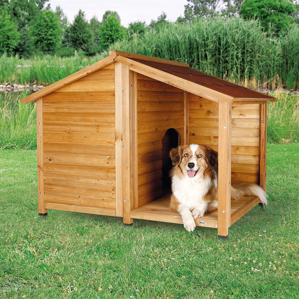 Hundehütte Lodge mit Terrasse - Größe S: B 100 x T 90 x H 82 cm