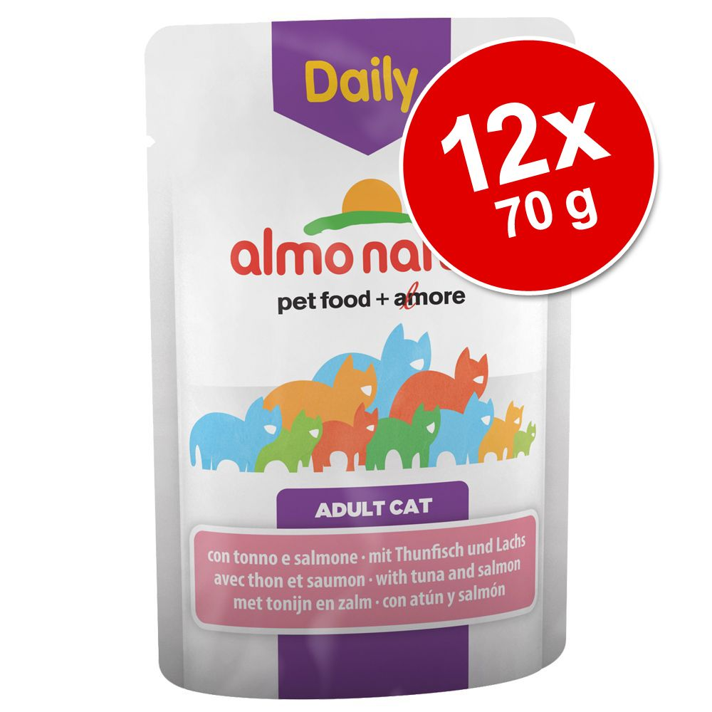 Ekonomipack: Almo Nature Daily Menu Pouch 12 x 70 g - Tonfisk och lax