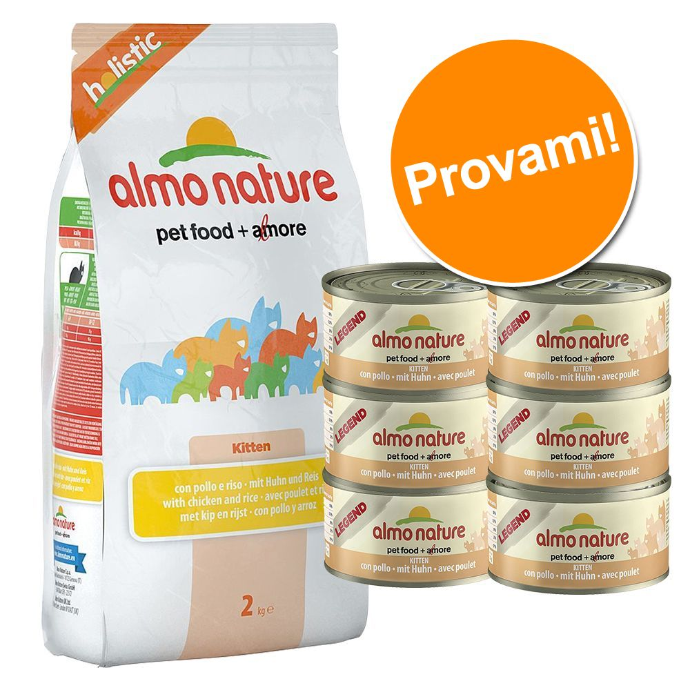 Foto Set assortito Almo Nature - 2 kg Holistic Kitten Pollo e Riso + 6 x 140 g Classic Kitten Pollo Almo Nature Classic Set assortiti