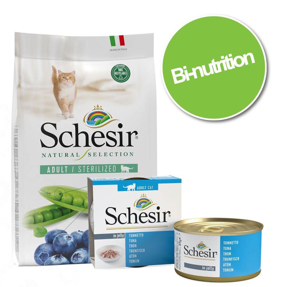 Pack bi-nutrition : Schesir en gelée 24 x 85 g + croquettes sterilized thon 4,5 kg - thon, surimi