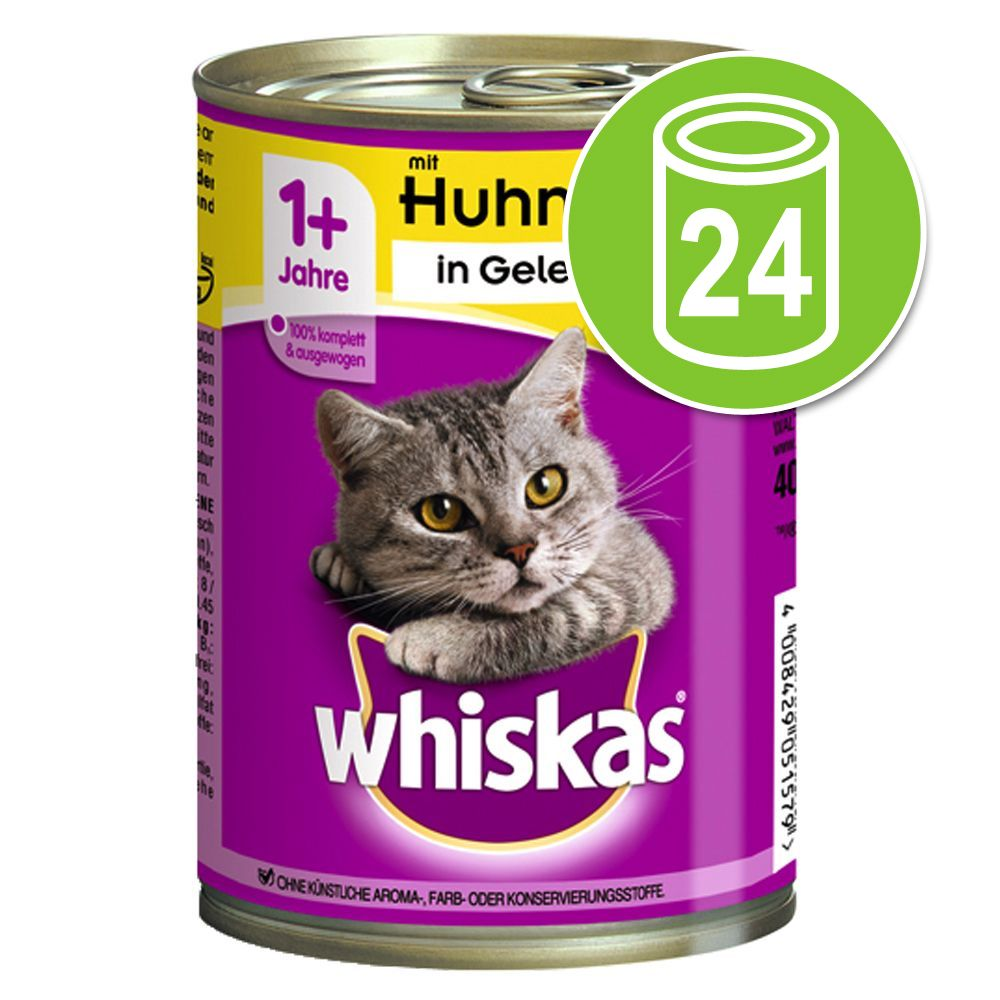 Image of Whiskas 1+ lattine 24 x 400 g - Coperchio per lattine (Set da 3, Ø 7,5 cm)