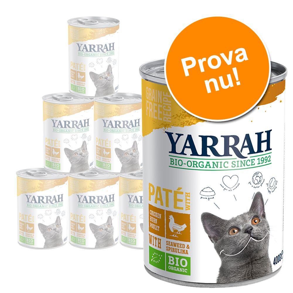 Blandpack: Yarrah Organic Paté 6 x 400 g - Blandpack: Fisk + Eko-kyckling