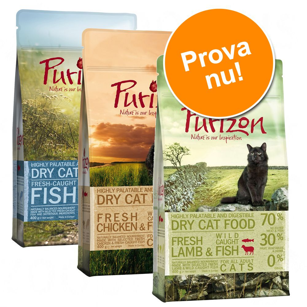 Blandat provpack Purizon Adult 3 x 2,5 kg - III: Wild Boar, Fish & Lamb och Fish