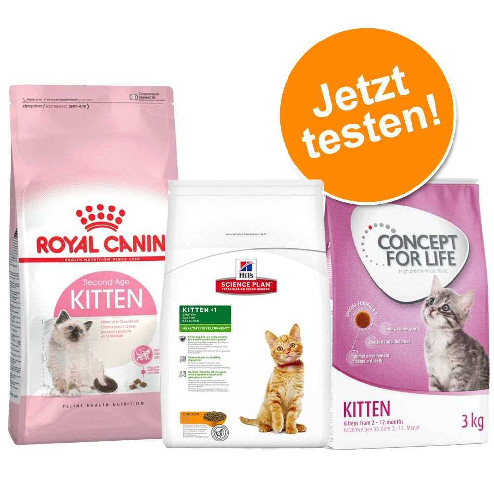Image of 2 kg Royal Canin Kitten 36 + 400 g Concept for Life und Hill´s - 2 kg RC Kitten, 400 g Concept for Life Kitten, 400 g Hill´s Kitten