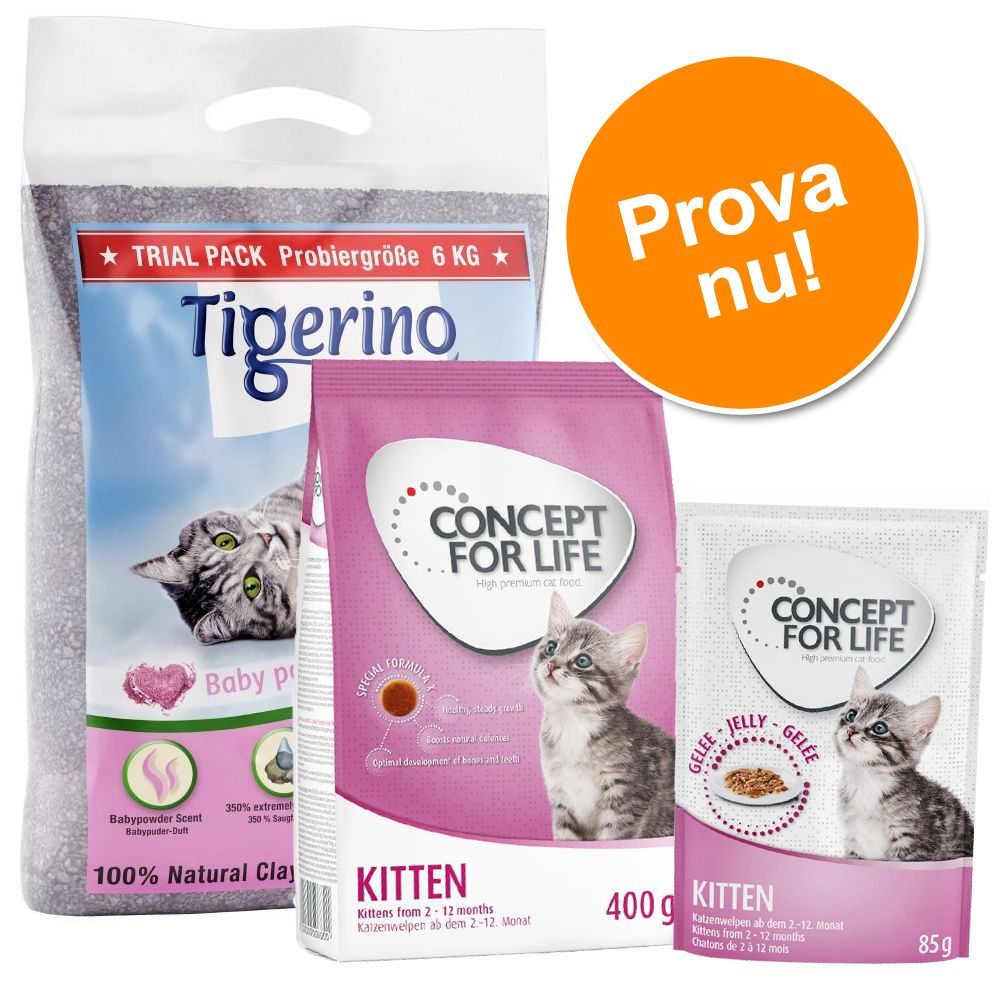 Kitten startpaket: testa Concept for life foder och Tigerino kattsand - 400 g torrfoder, 12 x 85 g våtfoder + 6 kg kattsand