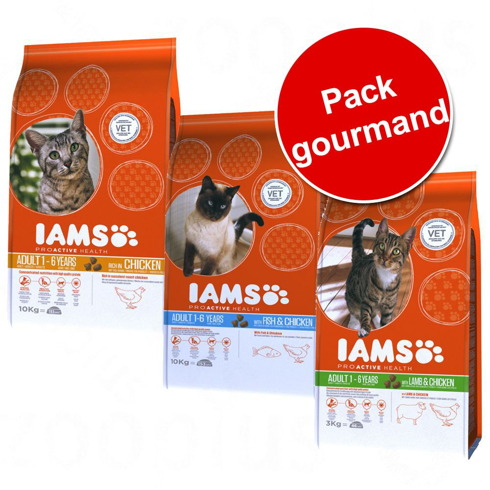 Pack gourmand IAMS pour chat, 3 saveurs - pack gourmand, 3 saveurs