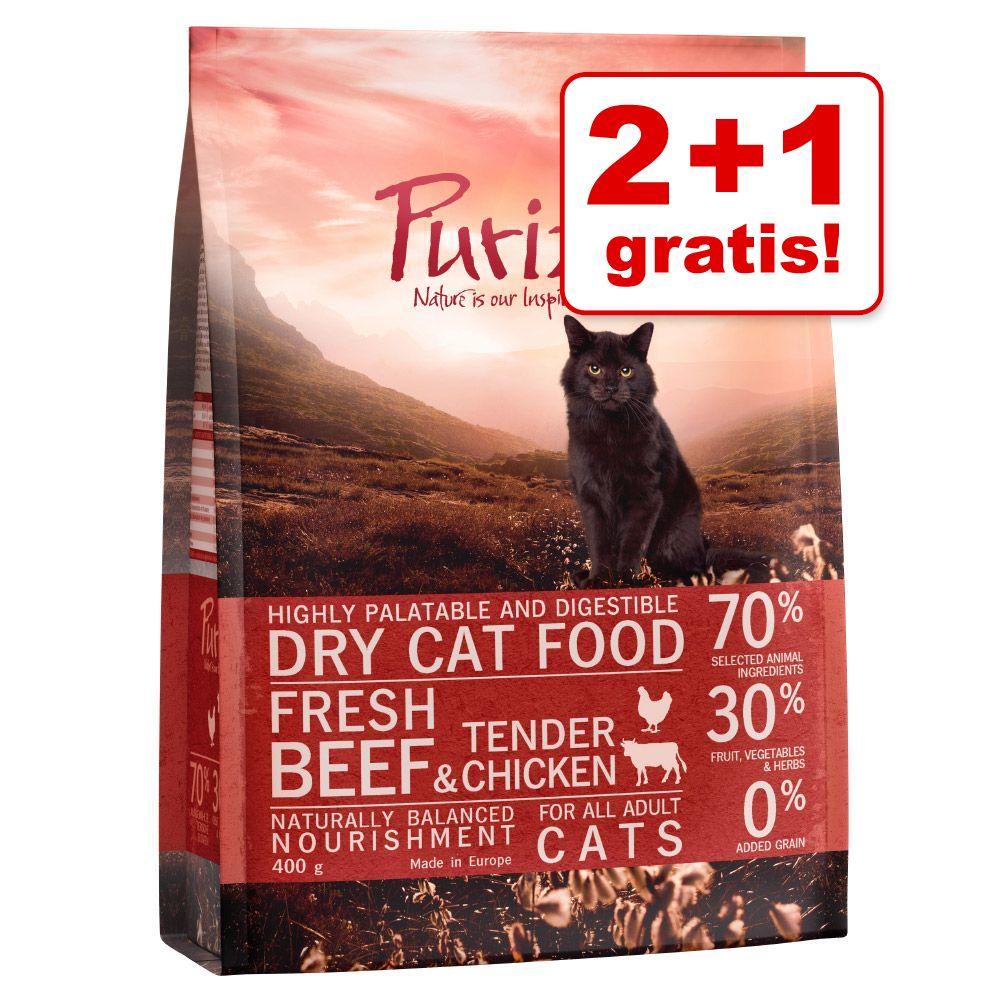 2 + 1 gratis! 3 x 400 g Purizon  - Adult Rind & Huhn