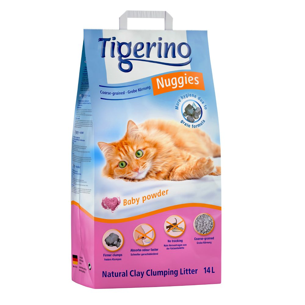 Tigerino Nuggies Classic kattströ - Baby Powder, grova korn - 14 l