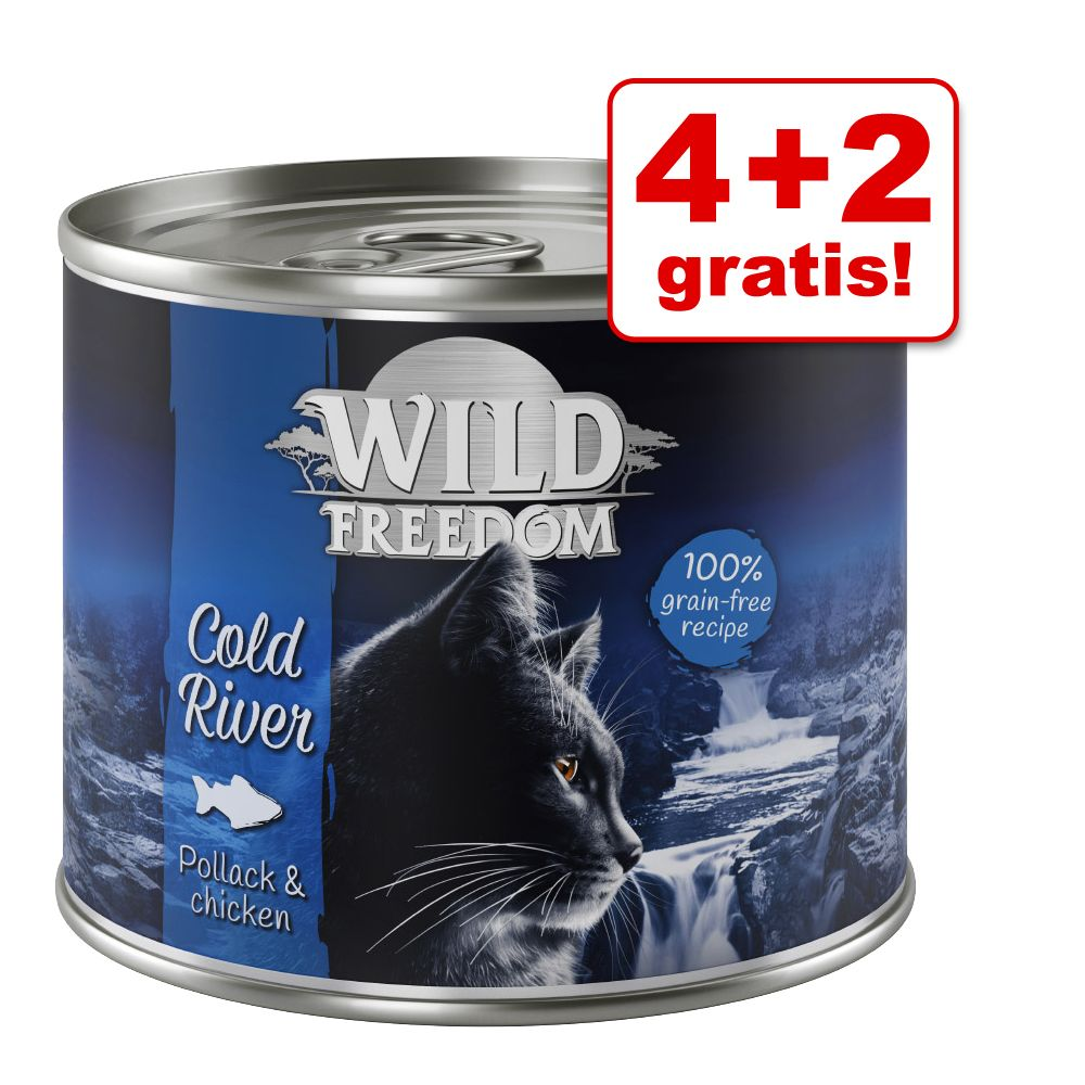 4 + 2 på köpet! Wild Freedom våtfoder 6 x 200 / 400 g - Cold River - Pollock & Chicken 6 x 200 g