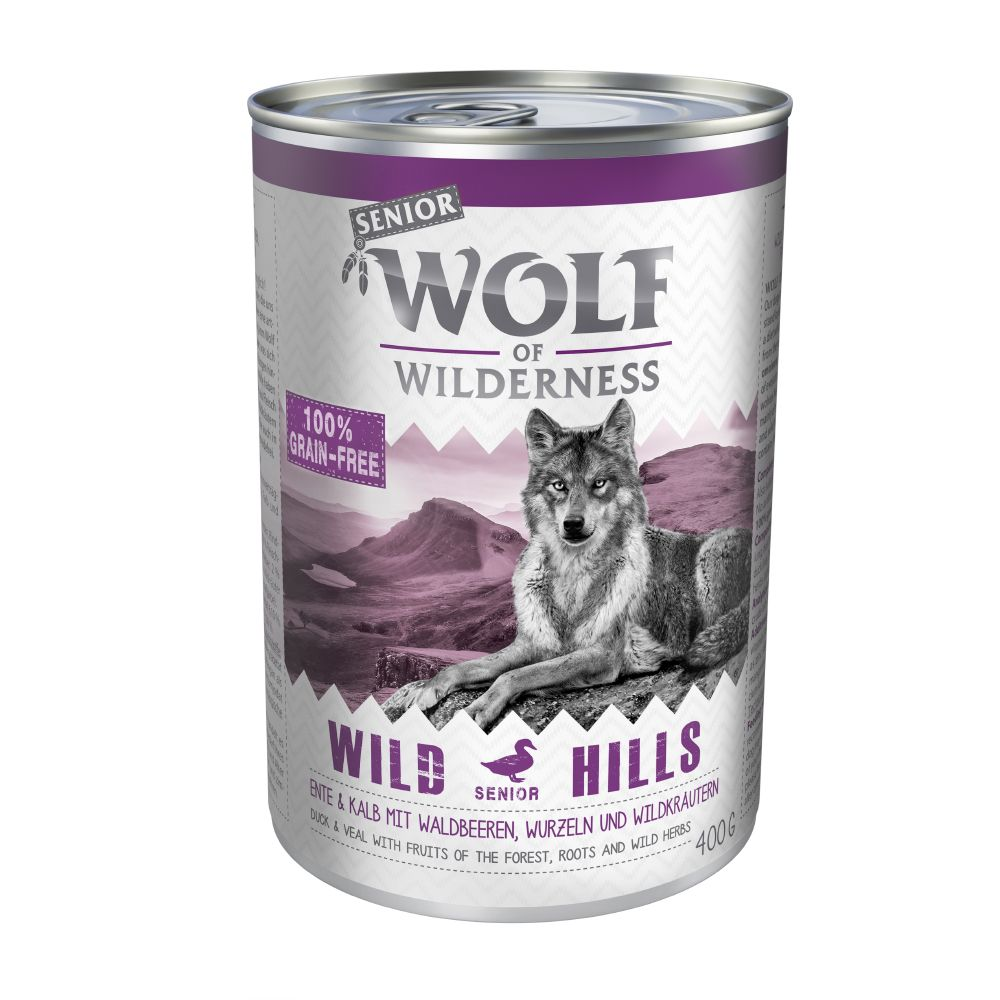 Wolf of Wilderness Senior 6 x 400 g - Wild Hills - Duck & Veal