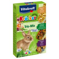 Vitakraft Dwarf Rabbit Cracker Sticks Trio-Mix - 3 x 3 Pack (Vegetables, Grapes, Forest Berries)