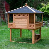 Outback Rabbit Hutch Pagoda with Run - 116 x 116 x 150 cm (L x W x H) (3 parcels)