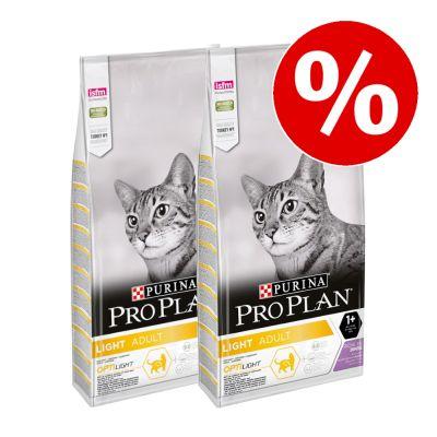 2 x 10 kg PURINA PRO PLAN Light kissanruoka erikoishintaan! - Light Adult Rich in Turkey