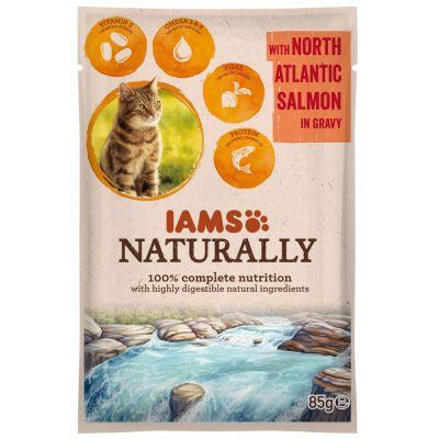 IAMS Naturally Cat Adult, lohi - 24 x 85 g
