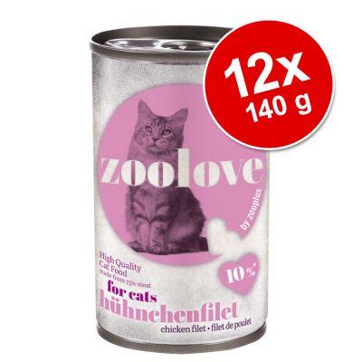 zoolove 12 x 140 g en latas para gatos - Pack Ahorro - Con pollo