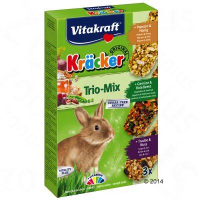 Vitakraft Kräcker Trio Mix -kääpiökaninkeksit - 1 x 3 kpl (vihannekset, viinirypäle, metsämarja)