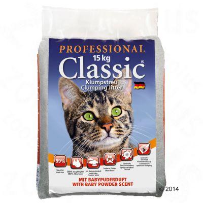 Professional Classic kattsand med doft av babypuder – 15 kg