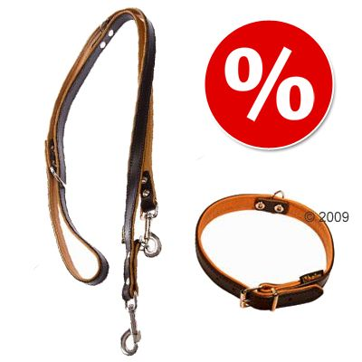 Heim läderhalsband + koppel, brun/cognac – Halsband storlek 60 + koppel 200 cm