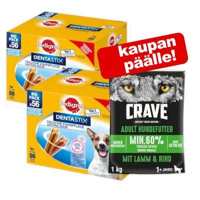 Pedigree Dentastix 112 kpl + 1 kg Crave-kuivaruoka Adult kaupan päälle! - Dentastix Daily Oral Care: pienille koirille (5-10 kg)