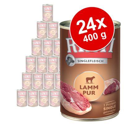 Rinti Single Protein -säästöpakkaus 24 x 400 g - mix: hevosenliha + naudanliha + kana + lammas