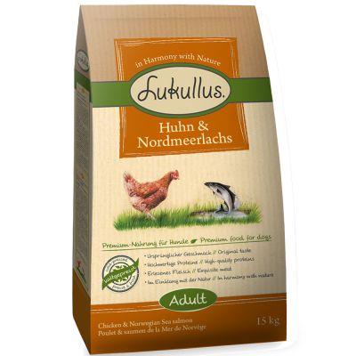 Lukullus kallpressat hundfoder Kyckling & nordsjölax - Ekonomipack: 2 x 15 kg