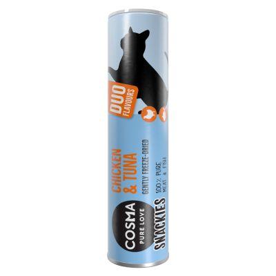 Cosma snackies DUO 2 in 1 - kylmäkuivatut kissanherkut - kananrinta & katkarapu 23 g