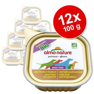 Ekonomipack: Almo Nature Daily Menu Bio 12 x 100 g – Kalv & grönsaker