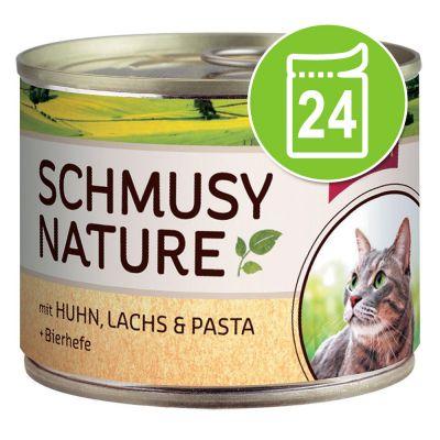 - Schmusy Nature Voordeelpakket Kattenvoer 24 x 190 g - Gemengd pakket Kip, Zalm &amp, Pasta en Kalkoen, Konijn &amp, Rijst